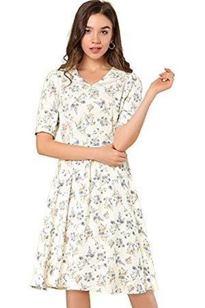 Allegra K Damen Peter Pan Kragen A-Linie Flowy Midi Chiffon Floral Kleid -ß - X-Groß