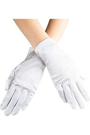 Xuhan Kurze Satin-Handschuhe für Frauen Opernhandschuhe Handgelenklänge - Weiß - Large