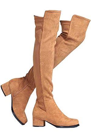 Shoe'N Tale Damen Overknee-Stiefel aus Velourslederimitat mit klobigem Absatz, Stretch, Overknee-hoch, (C- , 5,1 cm Absatz)