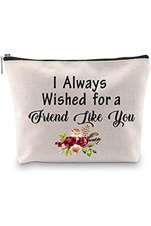 """PXTIDY Kosmetiktasche für Damen, Freundschaftsgeschenk, Aufschrift """"I Always Wished for a Friend Like You"""", Reiseetui, Make-up-Taschen für gute Freunde"""