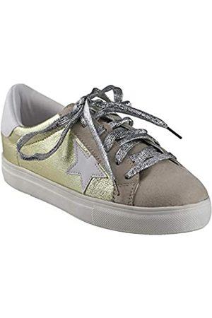 ShoBeautiful Damen Sneaker, flach, modisch, glitzernd, metallisch, zum Schnüren, (Gold01)