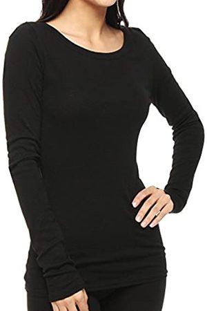 MICHAEL STARS Women's Slub Long Sleeve Band Crew Tee Shirt, Black