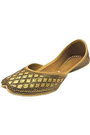 Step N Style Frauen Braut Punjabi Juttis Flach Mojari Indische Sandalen Hochzeit Sandalen Handgefertigte Schuhe, (kupfer)