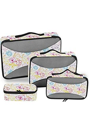 Mnsruu Packing Cubes Mr. Men Little Miss Kompressions-Gepäckwürfel, Reise-Organizer, Packtaschen für Koffer