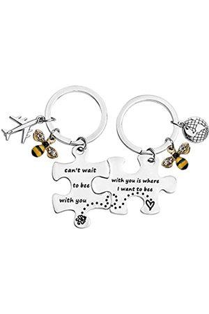 """MYOSPARK Pärchen-Schlüsselanhänger-Set """"Can't Wait to Bee with You Is Where I Want To Bee"""" Puzzleteil Schlüsselanhänger"""