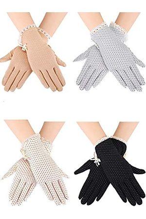 Blulu 4 Paar Sommer UV-Schutz Sunblock Handschuhe Anti-Rutsch Touchscreen Fahren Handschuhe Bowknot Blumen Handschuhe für Frauen Mädchen ( , Khaki