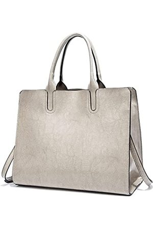 FADPRO Large Purses and Handbags for Women PU Leather 14-Inch Laptop Tote Shoulder Bag for Work - Grey