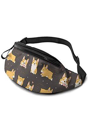 Dujiea Bauchtasche, Kawaii Corgi süße Hundetaillentasche mit Kopfhörerloch Gürteltasche, verstellbare Schlingtasche