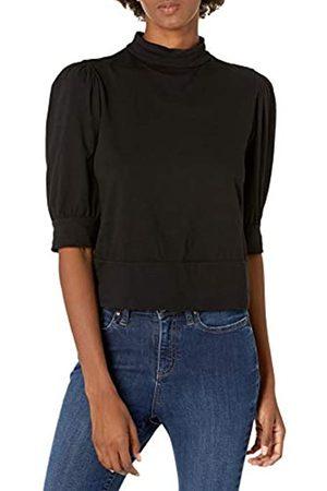 Graham & Spencer Damen Jodee Sueded Jersey Mock Neck Puff Sleeve Top T-Shirt