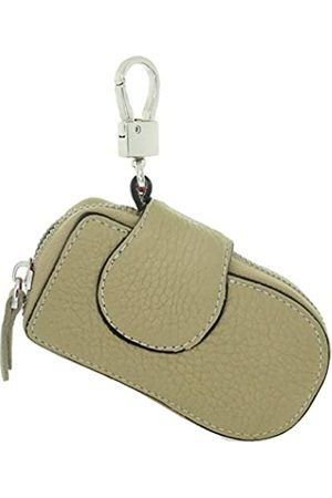 TimeMax Schlüsseletui aus Rindsleder, Schlüsseletui mit Druckknopf, Reißverschluss, Braun (004a2 Khaki)