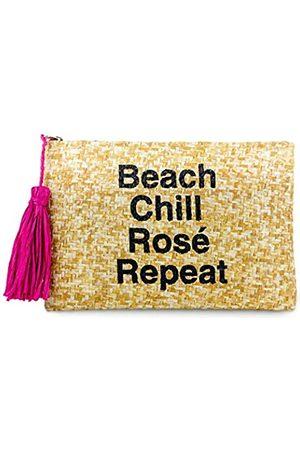 Funky Junque Damen Clutch, Strohhalm, Reisetasche, Mini-Reißverschluss, Handtasche, Blau (Beach Chill Rosé Repeat – natürlich.)