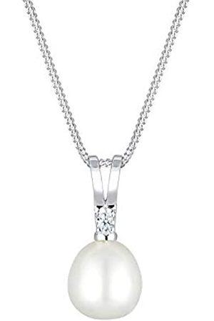 DIAMORE Halskette Damen Süßwasserzuchtperle Anhänger Diamanten (0