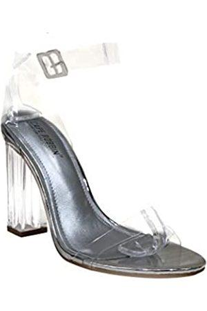 Cape Robbin Maria-2 Klare Chunky Block High Heels für Frauen, transparente Riemchen, offene Zehenschuhe für Frauen