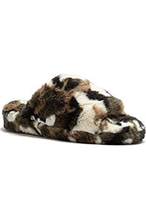Qupid Damen Casual Offene Zehen Slip On Pelz Pelz Slide Sandalen, (Camouflage Kunstfell)