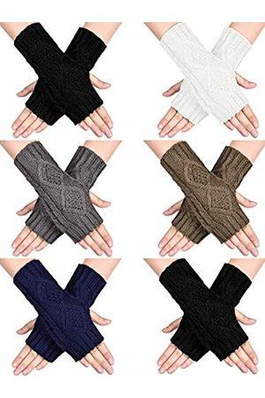 SATINIOR Frauen Winter Warm Gestrickt Fingerlose Handschuhe Daumenloch Arm Wärmer Fäustlinge ( , , Dunkelgrau, Khaki, Marineblau