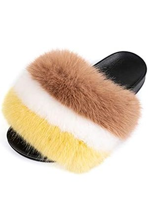 FUNKYMONKEY Damen Slides Faux Pelz Süße Flauschige Hausschuhe Komfort Flache Sandalen, (Dm-ps/ / / .)