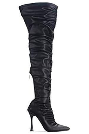Cape Robbin Whatsis Kunstleder Oberschenkelhoch Overknee Stiefel Spitze Spitze Spitze Spool Absatz Mode Kleid Stiefel für Frauen