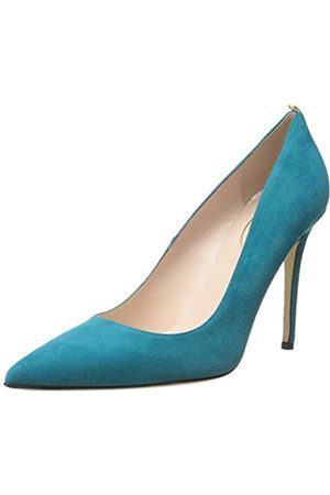 Sjp Women's Fawn Pointed Toe Dress Pump, Teal Suede