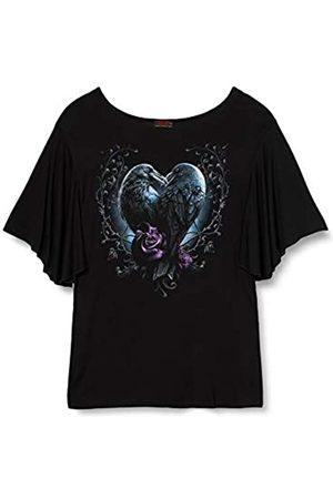 Spiral Damen Raven Heart-Boat Neck Bat Sleeve Top T-Shirt