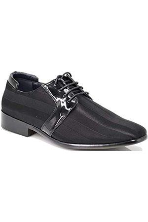 Enzo Romeo JY5N Herren Satin Metall Silber Spitze Oxfords Smoking Kleid Schuhe Streifen Oxfords Kleid Schuhe, ( (Jy3))