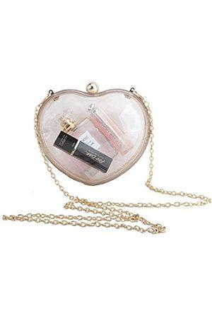 LETODE Damen Clutch, Herzform, transparent, Acryl, Abendtasche, Handtasche für Braut, Hochzeit, Party