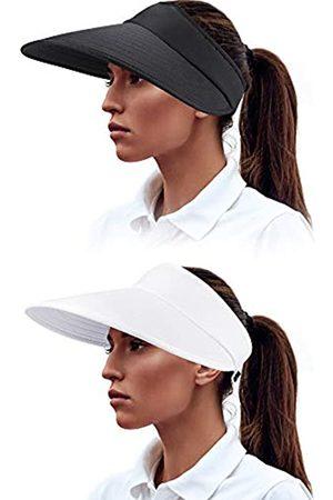 Syhood Damen Hüte - 2 Stück Sonnenblende Hüte breite Krempe Visier Hüte Verstellbare große Krempe Sommer Strand Caps für Frauen - Schwarz