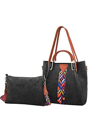 Ufemet Modische Handtasche und tragbare Geldbörse für Damen, farbiger Schultergurt, PU-Leder, Kuriertasche