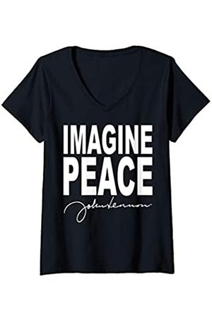 John Lennon Damen - Imagine Peace T-Shirt mit V-Ausschnitt