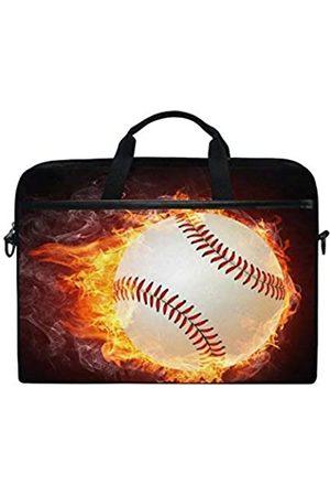 alaza Baseball Fire Brown 15 inch Laptop Case Shoulder Bag Crossbody Briefcase Messenger Sleeve for Women Men Girls Boys with Shoulder Strap Handle
