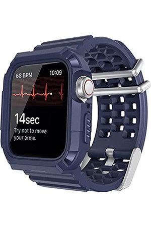Lasllaves Kompatibel mit Apple Watch Armband mit Hülle, Smart Watch TPU robuste Bumper Case mit atmungsaktiven Herren Damen Sport Armband Military Bands für iWatch Series SE/6/5/4/3/2/1 (Midnight Blue