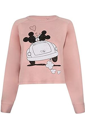 Disney Damen Mickey and Minnie Mouse Hearts Crew Cropped-Sweatshirt, -Dusty pink