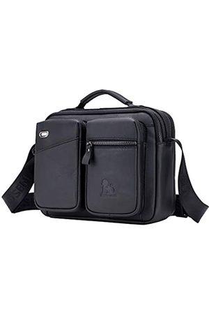 Hebetag Damen Umhängetaschen - Leder-Schultertasche Messenger Pack Handtasche für Männer Frauen Reisen Outdoor Business Crossbody Pack Daypack Geldbörse Handy Tasche Handtasche Daypack (#04Schwarz)