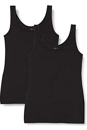 IRIS & LILLY Unterhemd Damen aus Baumwoll-Jersey mit U-Ausschnitt, 2er Pack