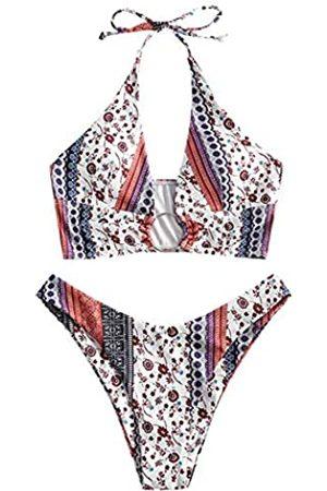 Zaful Damen Neckholder Tie Badeanzug High Cut Bikini O-Ring Gerippte Cutout Tanga Bikini Bademode - - Medium