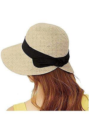 FASHIONMIA Fedora Sonnenhüte für Damen, mit Schleife, breite Krempe, aus Stroh, für den Urlaub