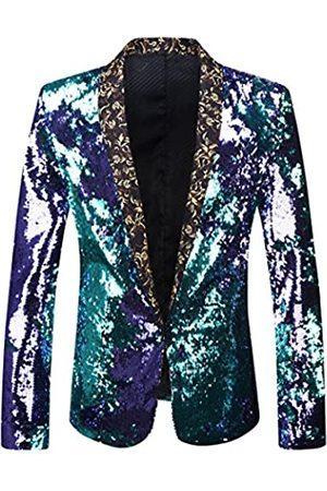 PYJTRL Modischer Blazer für Herren, zweifarbig, mit glänzenden Pailletten, Anzugjacke Gr. S