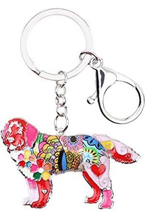 WEVENI JEWELRY WEVENI Emaille Legierung Neufundland Hund Schlüsselanhänger Ring New Fashion Tier Schmuck für Frauen Handtasche Charm Geschenk