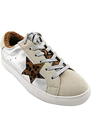 PARTY Damen Fashion Star Sneaker Schnürschuhe Low Top Bequeme gepolsterte Wanderschuhe, (Wildleder Silver Met)