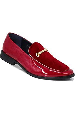 Enzo Romeo SPK05 Herren Vintage Satin Seidiger Blumendruck Stickerei Loafers Slip On Schuhe Klassische Smoking Kleid Schuhe, (Red (30))