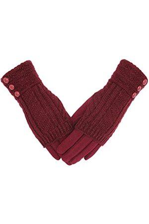 Tomily Winter Warm Knit Fingerlose + Touchscreen Texting Dicke Baumwolle Full Handschuhe 2-in-1 - Beige - Einheitsgröße