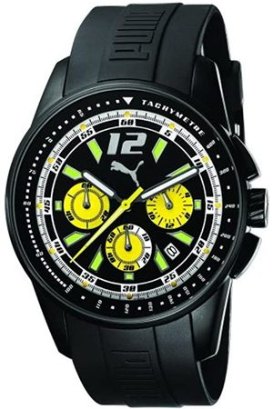 PUMA Time Herren-Armbanduhr XL Race Luminous Chrono Black Yellow Chronograph Quarz Plastik PU102161004