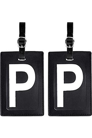 Lugbetter Gepäckanhänger Initial Leder (passendes 2er Set): kontrastreiche Initiale - Flexible Reiseanhänger mit extra Adresskarten und Sichtschutzklappe zum Schutzersönlicher Daten