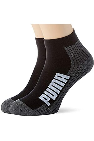 PUMA Unisex-Adult BWT Cushioned Quarter (2 Pack) Socks, Black/White