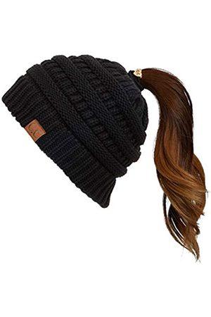 C.C Damen Hüte - Exclusives Soft Stretch Zopfmuster Unordentlicher Dutt Pferdeschwanz Beanie Wintermütze für Frauen (MB-20A) (CCB-1) - - Einheitsgröße