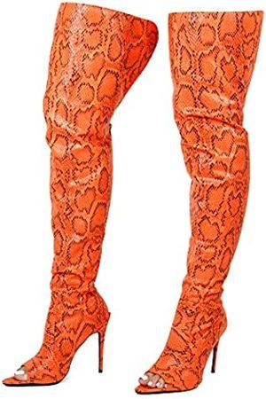 Cape Robbin Toxic Faux Snake Oberschenkel Hohe Overknee Stiefel Peep Toe Stiletto Absatz Mode Kleid Stiefel für Frauen