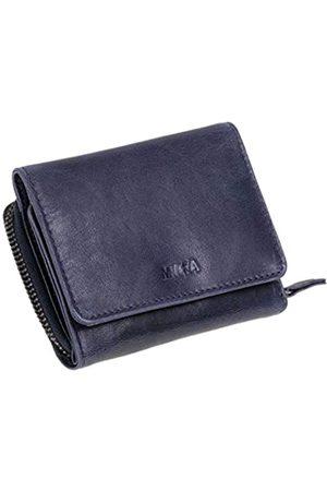 Mika 42177 - Geldbörse aus Echt Leder, Portemonnaie im Querformat, Geldbeutel mit 6 Kartenfächer, 2 Einschubfächer, Scheinfach und Münzfach mit Reißverschluss, Brieftasche in