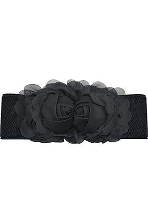 Meta-U ® Frauen elastischen breiten Stretch-Bund Buckle Gürtel (black)