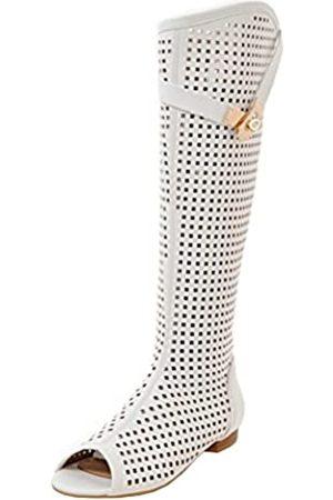 Agodor Damen Peep Toe Knee High Stiefel mit Reißverschluss Cut Out Langschaft Boots
