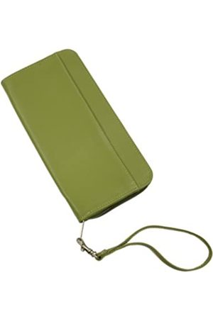 Piel Reisepassscheinhalter mit Reißverschluss. (Grün) - 9102