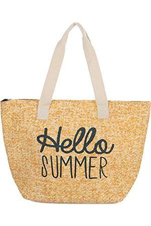 Funky Junque Damen Strandtasche mit Spruch, große Stroh-Reisetasche, (Hello Summer - Natur)
